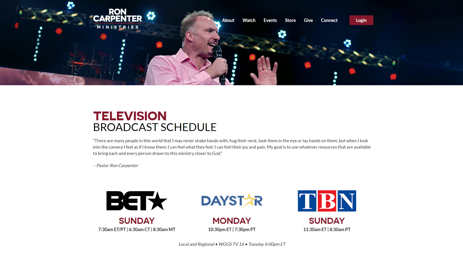 Ron Carpenter Ministries TV Page